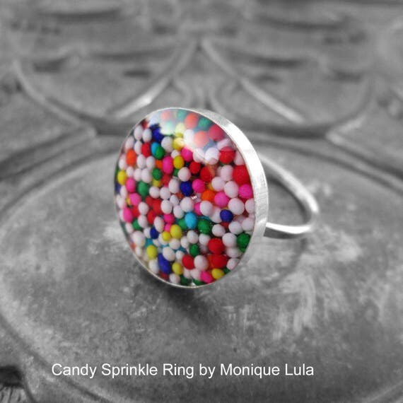 Handmade Genuine Sterling Silver Rainbow Candy Sprinkle Ring .925