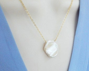 White  keishi pearl necklace  with gold plated sterling silver chain, cultured freshwater pearl, bridal jewelry