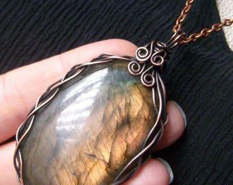 Wire Wrapped Labradorite Copper Pendant, Large Labradorite Wire Work Pendant Necklace, Wirework Gemstone Pendant, Giant Labradorite Necklace