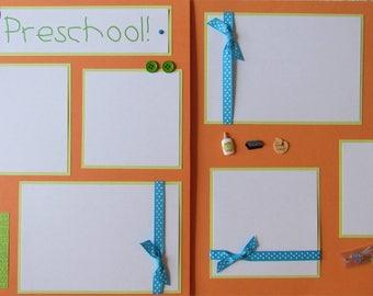 Premade 12x12 Scrapbook Pages - Preschool layout -- I love PRESCHOOL -- school days album, boy, girl, scrapbooking, pre-k, pre-kindergarten