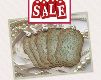 Love Potion Green Gift Tags - Vintage Inspired -  Use as favor tags, gift tags, party decorations UK.  SET OF 5 - Ivory Satin Ribbon