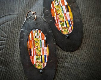 Brass Hoops, Gustav Klimt, Artisan Made, Rustic, Organic, Primitive, Hoops, Upcycled, Recycled, Beaded Earrings