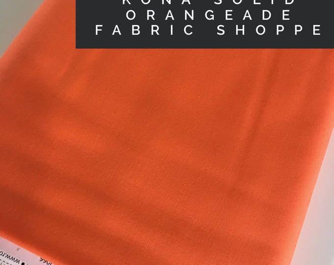 Kona cotton solid quilt fabric, Kona ORANGEADE 1853, Solid fabric Yardage, Kaufman, Quilting Cotton fabric, Choose the cut