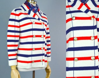 60s Red White Blue Stripe Nautical Sweater ~ Vintage Double Breast Cardigan S M