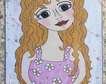 Country Girl - ACEO Print Of OOAK Original Painting - Girls - ATC - Artist Trading Card