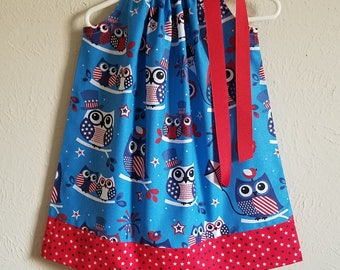 2t Girls Dress Pillowcase Dress Patriotic Dress with Owls 4th of July dress Red White and Blue Owl Dress with Stars Ready to Ship