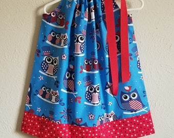 Girls Dress Pillowcase Dress Patriotic Dress with Owls 4th of July dress Red White and Blue Owl Dress with Stars Ready to Ship size 2t