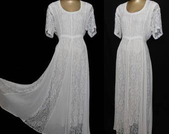 Vintage 90s Chantilly Lace Dress, Off White Rayon Gauze with Rayon Under Dress, Size L to XL, Large to Extra Large