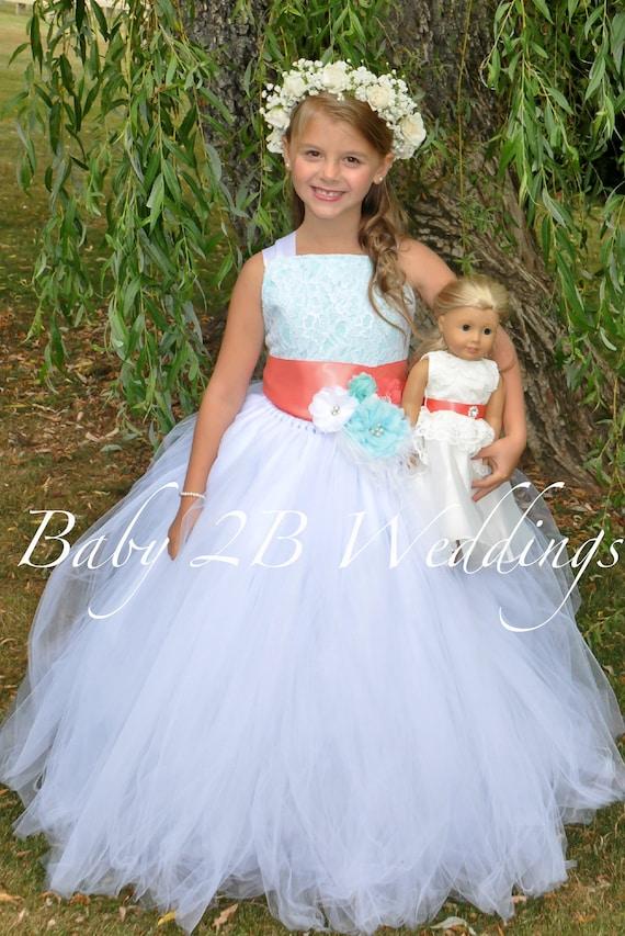 Aqua Flower Girl Dress with Coral Sash White Dress Lace Dress Coral Dress Aqua Dress Toddler Dress Girls Dress Tutu Dress Beach Wedding