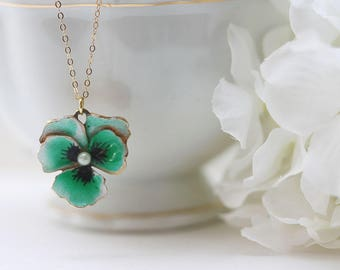 Green Pansy Necklace Green Flower Necklace Flower Necklace Pansy Jewelry