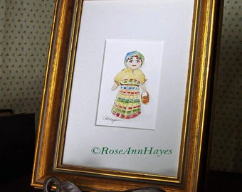 Guatemalan Worry Doll Original Watercolor Painting ACEO Children Room Housewarming Gift