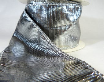 """Molten Silver With Black Pinstripe Wired Ribbon  2.5"""" Wide"""