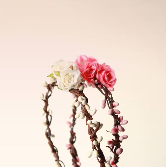 Flower girl crown, IVORY or PINK, artificial flower crown, rustic rose pip wreath, Toddler Photo Prop, Photography prop, Newborn - 5 years