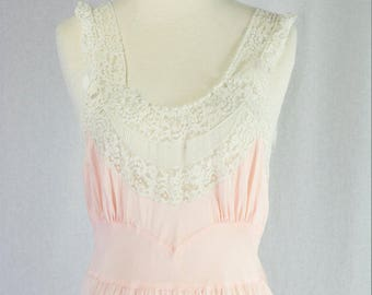 Vintage 1940s Pink Rayon Nightgown Bias Cut Beauty Full Length Size 32