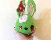 Zombie Bunny Plushie Blob, Undead Spring Easter Rabbit Plush, Fluffy Green Yarn Pompom Tail, READY TO SHIP