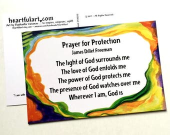 10 PRAYER For PROTECTION James Dillet Freeman POSTCARDS Inspirational Unity Card Religious Spiritual Gift Heartful Art by Raphaella Vaisseau