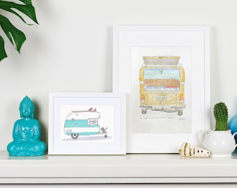 Kombi VW Watercolour surf art print - limited edition hand printed etching
