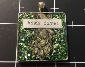 High Five! Cat Paw Pendant, 50% goes to the current focus animal charity