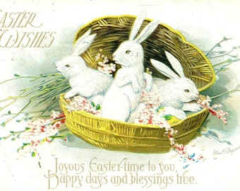 ELLEN CLAPSADDLE Easter Wishes  Post Card 1916 Embossed Postcard Bunnies in a Basket