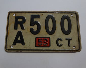 1953 Connecticut License Plate, Bike License Plate, Bicycle License Plate, Black & White, RA 500 Metal Plate, Mid Century Wall Art, Man cave
