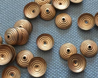 Vintage Brass Deco Beadcaps (16)(10mm) Nice Patina Findings