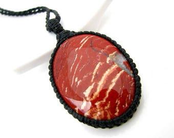 Red Jasper Necklace, Red Jasper jewelry, Jasper, Macrame pendant, Gemstone necklace, Gemstone pendant, Chakra jewellery, Chakra healing