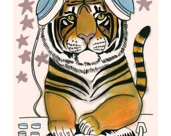 "Tiger art -   DJ Stripe - 4"" X 6""  print - 4 for 3 SALE"