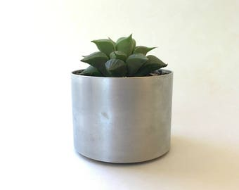 Metal Minimalist Cylinder Indoor Garden Planter, Modern Accent Piece, Satin Polished Recycled Aluminum