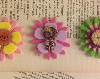 3 skeleton flower sticker charms Art #1 FREE US Shipping