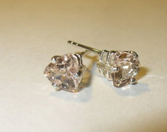Genuine Morganite Stud Earrings  ~ Trilliant-Cut Natural Pink Emerald Gemstones in Solid Sterling Silver