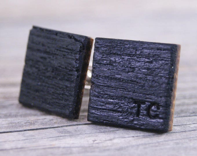 Personalized Whiskey Barrel Oak Wood Cufflinks - Perfect gift for the Groom and Father of the Bride!