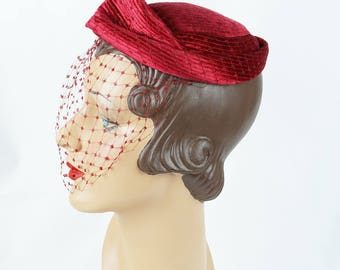 1950s Vintage Hat Dark Red Quilted Beret with Netting by Chanda