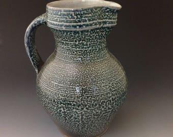 Pottery Pitcher - Soda Glaze Stoneware - Cobalt Slip