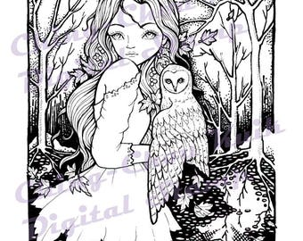 Under The Moonlight - PRINTABLE Digital Stamp Instant Download / Barn Owl Moon Lady Girl Fantasy Line Art by Ching-Chou Kuik