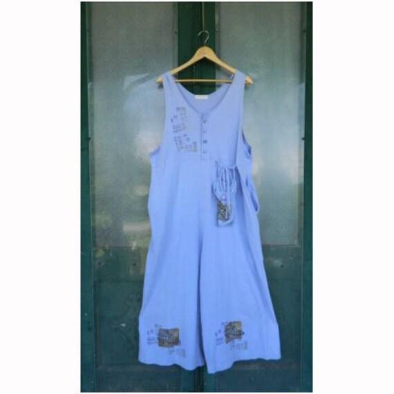 Blue Fish Artwear Sleeveless Jumpsuit Romper -1- Cornflower Blue Organic Cotton