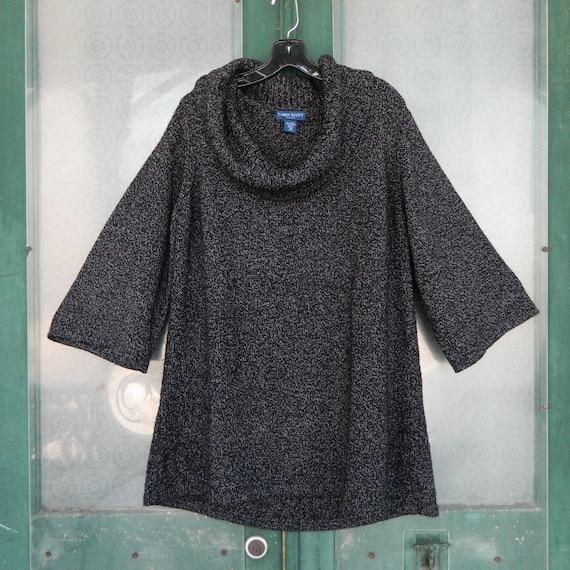 Karen Scott Woman Slouchy Pullover Cowl Neck Sweater -1X- Black Marl