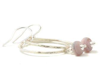 Silver Hoop Earrings | Sterling Silver and Glass Hoop Earrings | Pink Lampwork Earrings | Hammered Silver Hoop Earrings | Boho Hoop Earrings