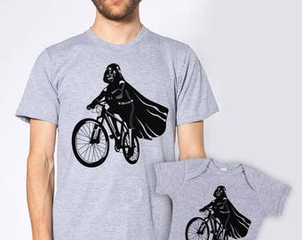 Father's day gift daddy and baby marching set, Darth Vader is riding it father son shirts, new dad bundle, star wars gift for husband, bike