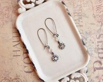 Eva - black crystal flower earrings - clear ab - crystal earrings - iridescent crystal