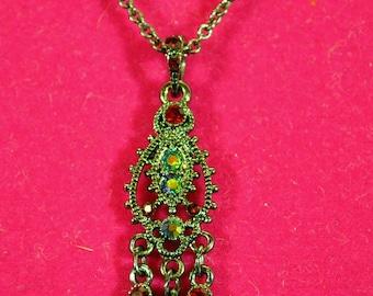 1928 Vintage Inspired Gunmetal Red Rhinestone Delicate Necklace - Filigree Teardrop Design
