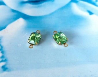 Vintage Peridot Green  10x8mm CZECH Crystal Stones in a Raw Brass Connector Prong Setting  581RAW x2