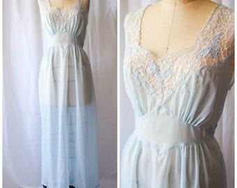 Blue Roses | Vintage 1940s SAAB Lingerie Pale Blue Nightgown White Lace Neckline with Blue Flowers Scallop Edges Side Snaps and Tie Bust 38""