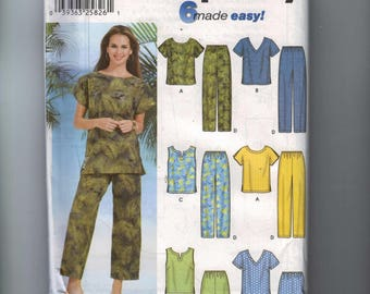 Misses Sewing Pattern Simplicity 7236 Misses Easy Top Tank Pull on Pants Shorts Plus Size Womens 26W 28W 30W 32W Bust 48 50 52 54 UNCUT