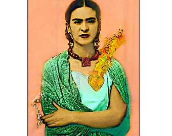 Frida Kahlo Flaming Heart Painting Print Instant Digital Download Smoking in Rebozo Shawl Poster Photomontage Cigarette All Sizes