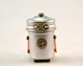 MR. BOLD, a Bitty Bot, Assemblage Art Recycled Robot Sculpture, Vintage Film Canister Turned Robot