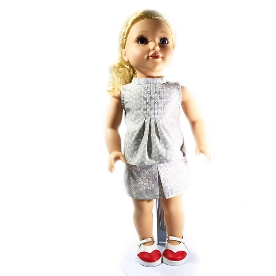 "Two-piece Outfit (Blouse and Skirt) for American Girl and Other 18"" Dolls: Grey Coordinating Patterns"