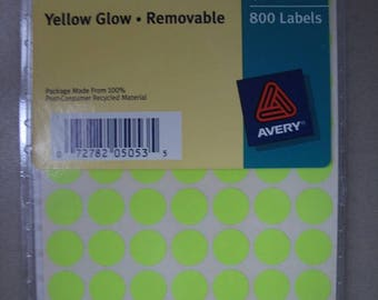 Yellow Glow Color Coding Removable Labels