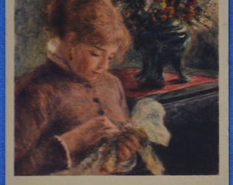 Art Lady Sewing Auguste Renoir Antique UDB Postcard