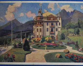 Art Prague Grand Hotel Lomnica Czechoslovakia 1921 Postcard