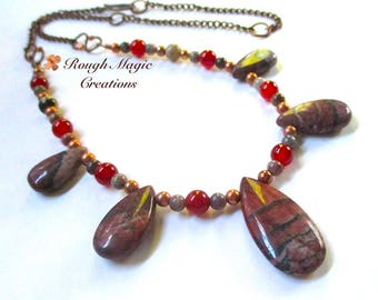 Southwestern Necklace, Earthy Gemstone, Red Gray Brown Mixed Stone, Adjustable Choker to Long Boho Tribal, Rustic Antiqued Copper Chain N107